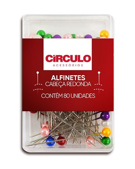 ALFINETES CABEÇA REDONDA COLORIDA