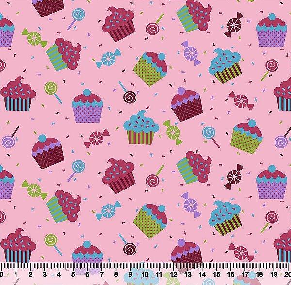 Tecido Tricoline Cupcake 5067