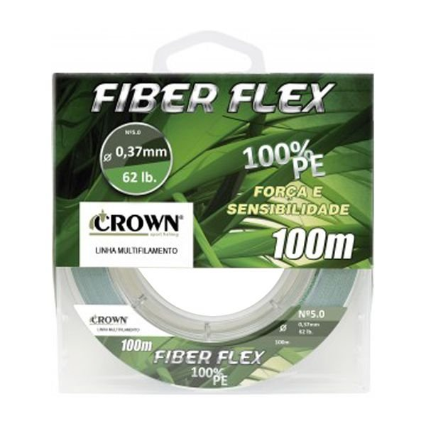Linha Multifilamento Crown Fiber Flex 4X 100m Verde - 0.28mm 36lbs