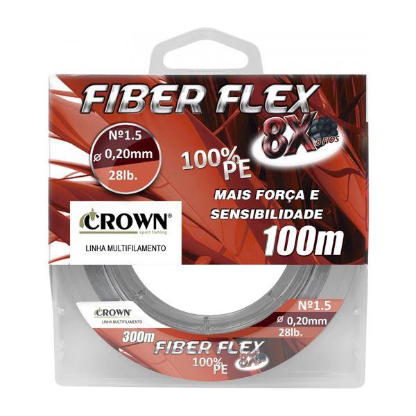 Linha Multifilamento Crown Fiber Flex 8X 100m Cinza - 0.28mm 50lbs