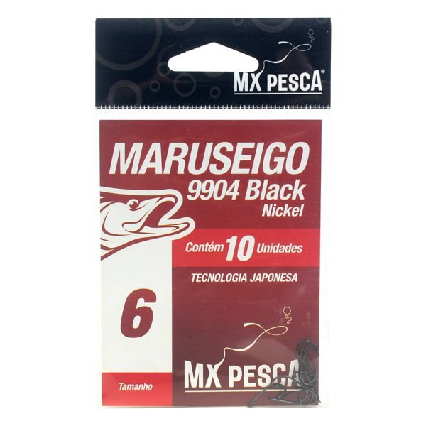 Anzol MX Pesca Maruseigo Black Nickel #06 - 10pçs