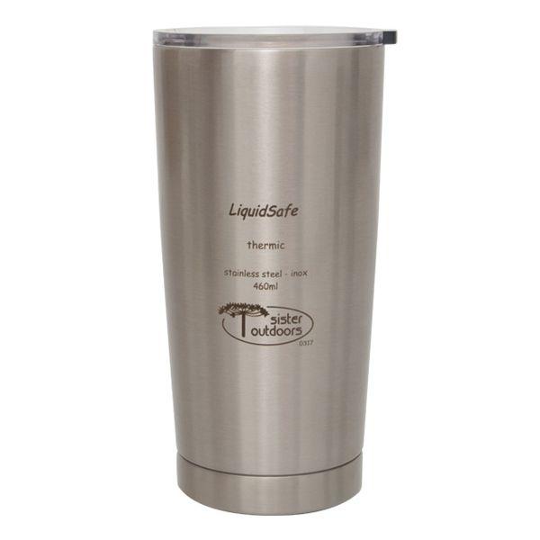 Copo Térmico Inox LiquidSafe Tumbler c/ Tampa 460ml - Prata (Polido)