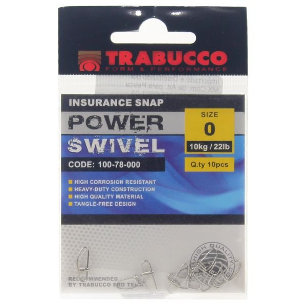 Snap Trabucco Reto p/ Artificial #0 10pçs 22lbs 10kg