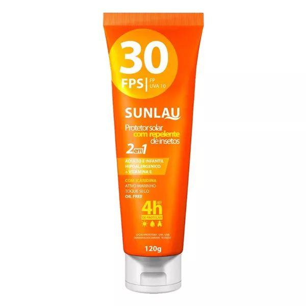 Protetor Solar Sunlau 30 FPS c/ Repelente Icaridina 120g