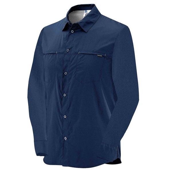 Camisa Salomon Stretch ML Masc Azul  M