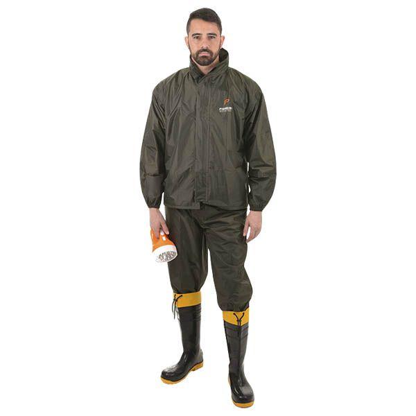 Conjunto Impermeável Pescador Pioneira Nylon Verde Militar