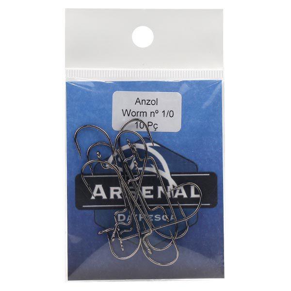 Anzol Arsenal Offset Worm Black Nickel 10pç