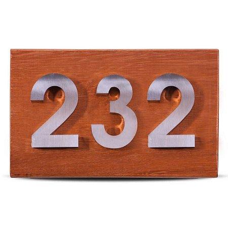 Kit Placa de Madeira com 3 Números de Inox Polido