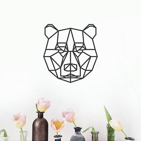 Escultura de Parede Urso em Metal Geométrico