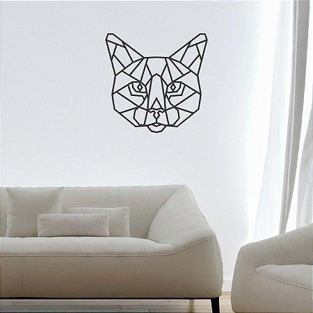 Escultura de Parede Gato em Metal Geométrico