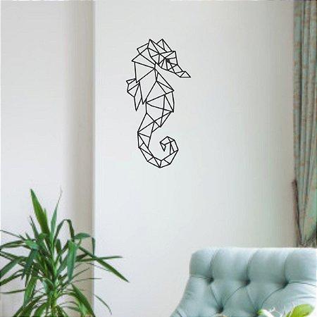 Escultura de Parede Cavalo Marinho em Metal Geométrico