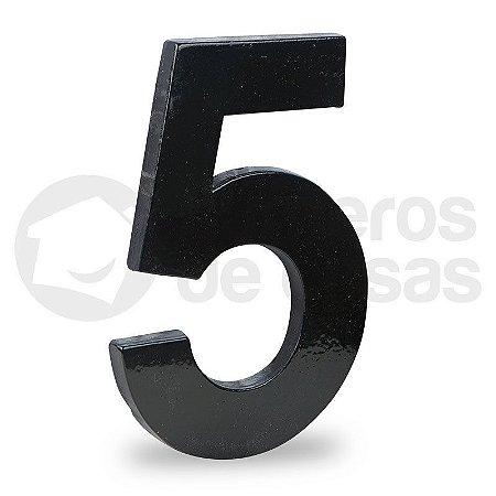 "Número ""5"" de Aluminio Moderno Preto 18x1cm"