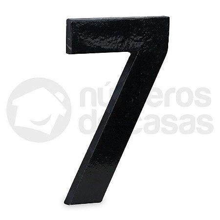 "Número ""7"" de Aluminio Moderno Preto 18x1cm"