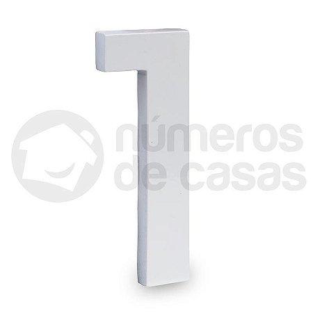 """Número """"1"""" de Aluminio Moderno Branco 18x1cm"""