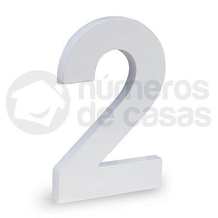 """Número """"2"""" de Aluminio Moderno Branco 18x1cm"""