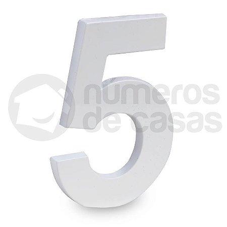 """Número """"5"""" de Aluminio Moderno Branco 18x1cm"""