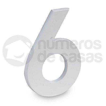 """Número """"6"""" de Aluminio Moderno Branco 18x1cm"""