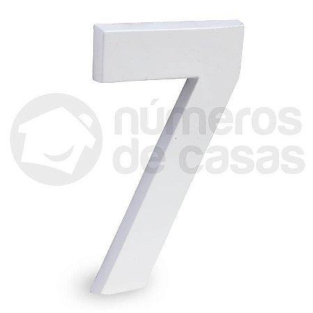 """Número """"7"""" de Aluminio Moderno Branco 18x1cm"""