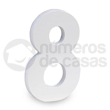 """Número """"8"""" de Aluminio Moderno Branco 18x1cm"""