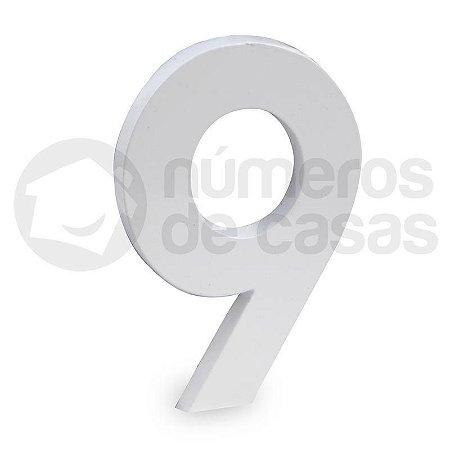 """Número """"9"""" de Aluminio Moderno Branco 18x1cm"""