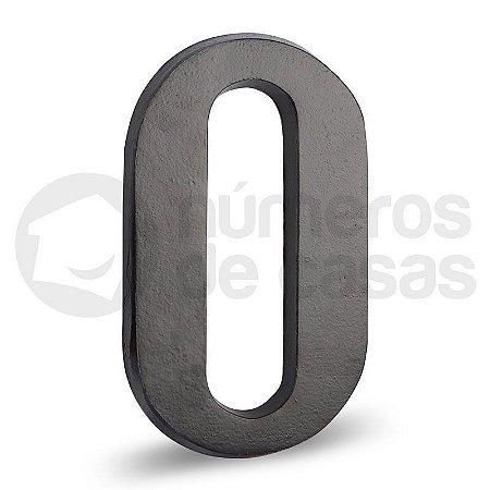 """Número """"0"""" Preto de Alumínio 18x1,2cm"""