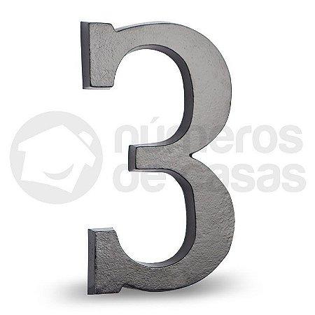 """Número """"3"""" Preto de Alumínio 18x1,2cm"""