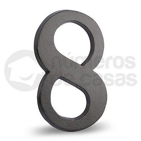 """Número """"8"""" Preto de Alumínio 18x1,2cm"""