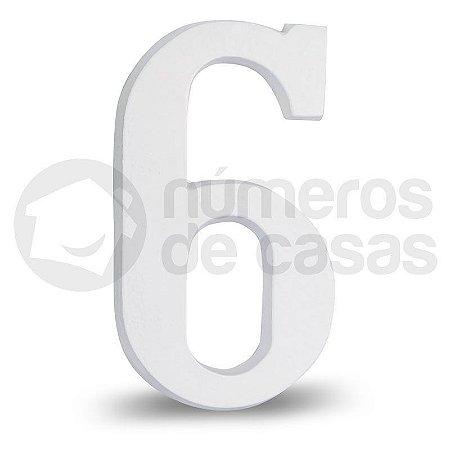 """Número """"6"""" Branco de Alumínio 18x1,2cm"""