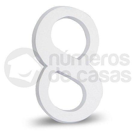 """Número """"8"""" Branco de Alumínio 18x1,2cm"""