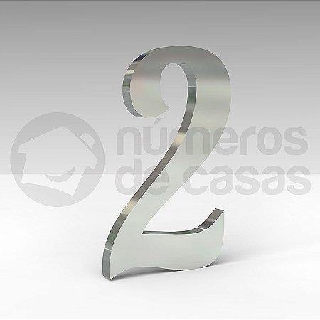 """Número """"2"""" de Inox Polido Manuscrito 304 18x2cm"""
