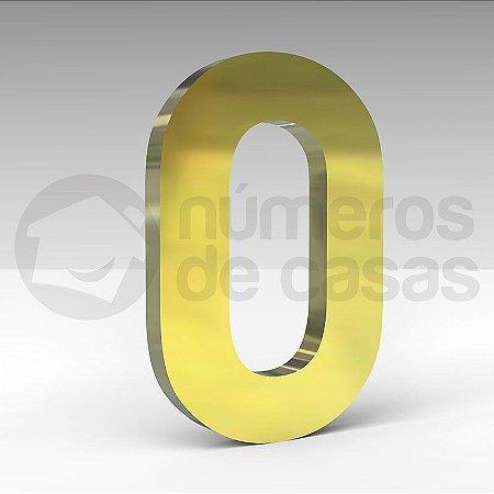 """Número """"0"""" de Latão Dourado 20x2cm"""