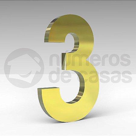 """Número """"3"""" de Latão Dourado 20x2cm"""