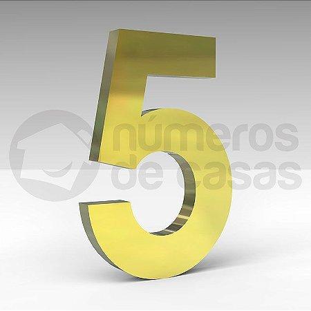 """Número """"5"""" de Latão Dourado 20x2cm"""