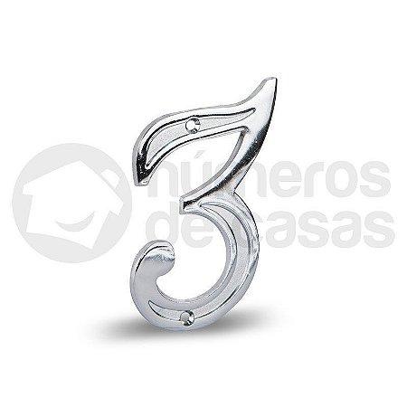 "Número ""3"" Cromado 12,5cm"
