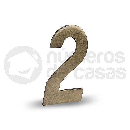 """Número """"2"""" Dourado Liso 12,5cm"""