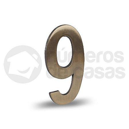 """Número """"9"""" Dourado Liso 12,5cm"""