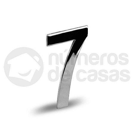 "Número ""7"" Cromado Liso 12,5cm"