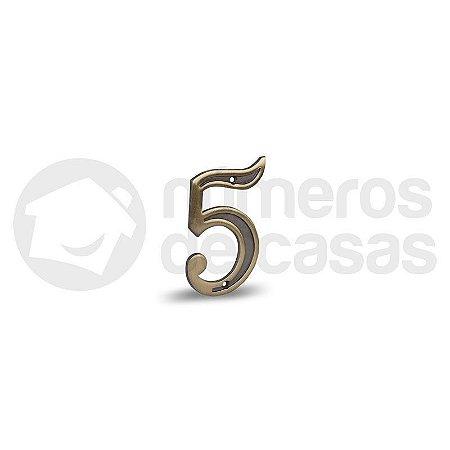 """Número """"5"""" Dourado 4,0cm"""