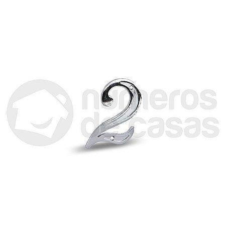 "Número ""2"" Cromado 4,0cm"
