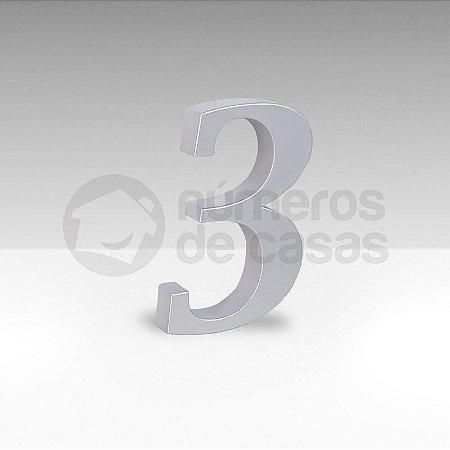 "Número ""3"" Prata Sintético"