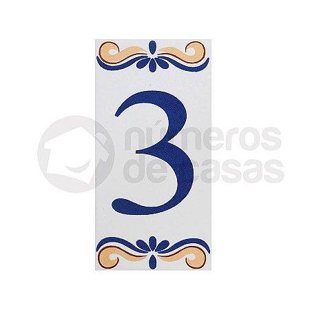 """Número """"3"""" de Cerâmica"""
