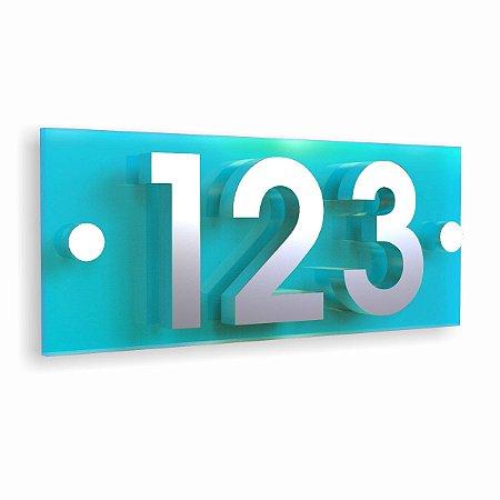 Kit Placa de Acrílico Azul com 3 Números de Inox