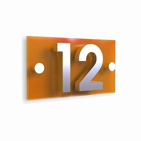 Kit Placa de Acrílico Amarela com 2 Números de Inox