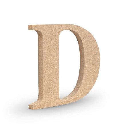 """Letra """"D"""" de MDF Crú 16cm"""