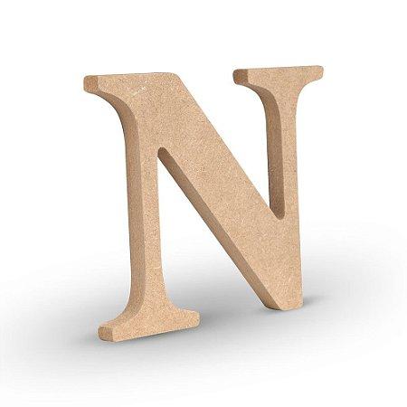 """Letra """"N"""" de MDF Crú 16cm"""