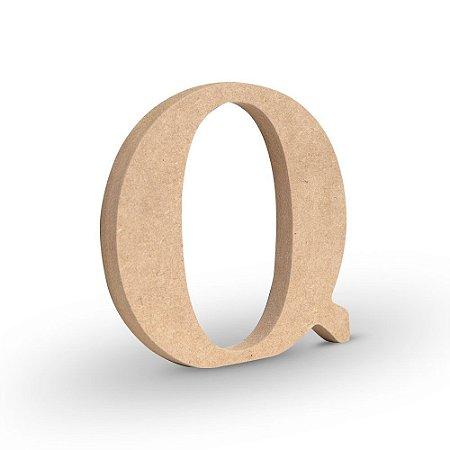 "Letra ""Q"" de MDF Crú 16cm"