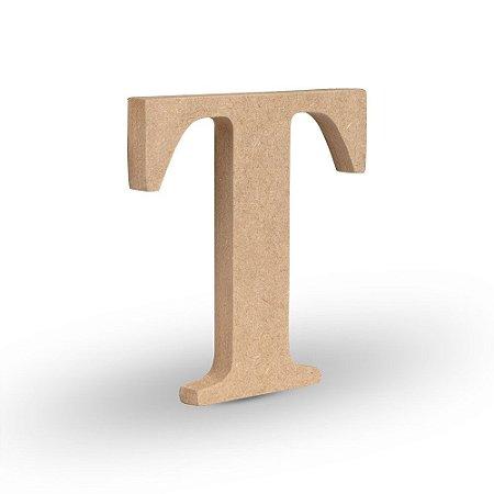 """Letra """"T"""" de MDF Crú 16cm"""