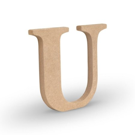 """Letra """"U"""" de MDF Crú 16cm"""