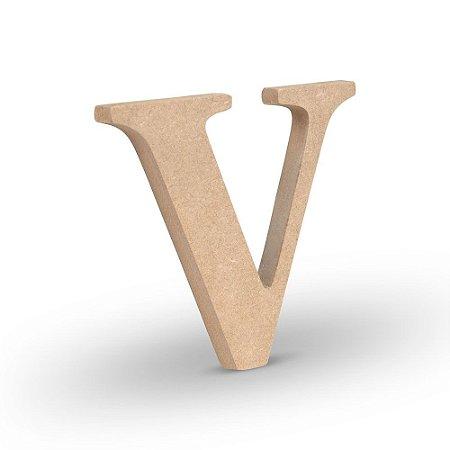 """Letra """"V"""" de MDF Crú 16cm"""