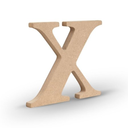 """Letra """"X"""" de MDF Crú 16cm"""